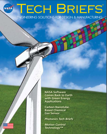 NASA Tech Briefs cover with wind turbine
